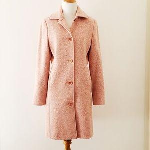 L.L. Bean wool tweed rose pink knee-length coat 4